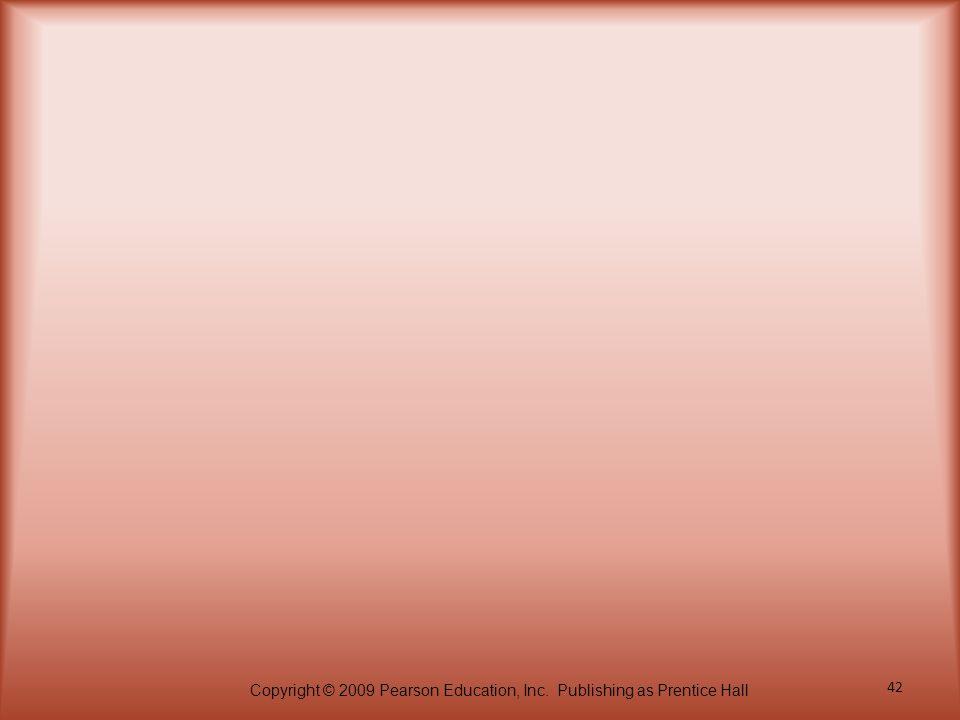 Copyright © 2009 Pearson Education, Inc. Publishing as Prentice Hall 42