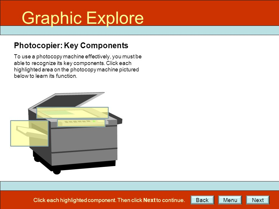 GE Ex2 Graphic Explore Photocopier: Key Components To use a photocopy machine effectively, you must be able to recognize its key components.