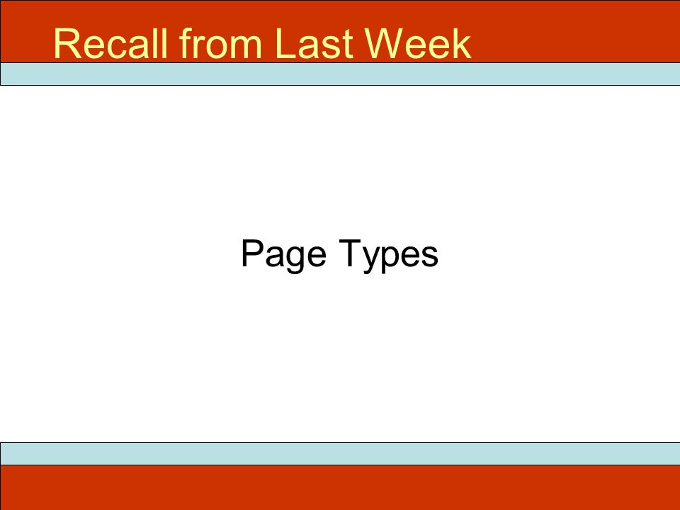 Page Types Recall from Last Week