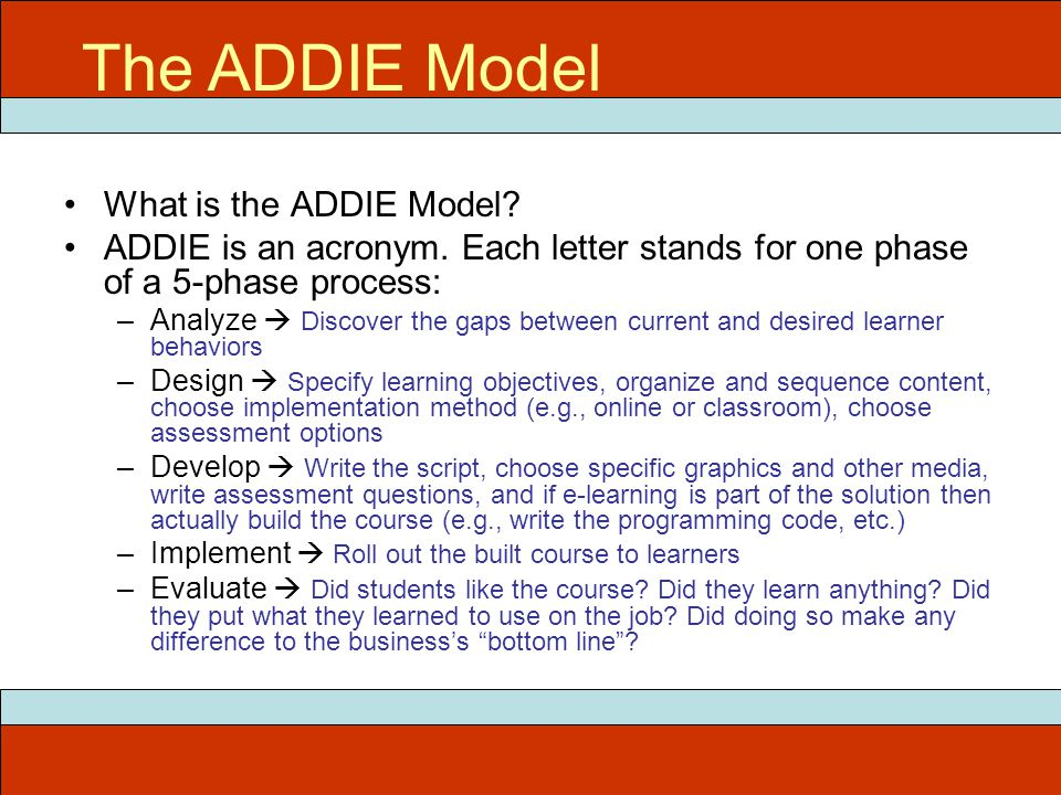 What is the ADDIE Model.ADDIE is an acronym.