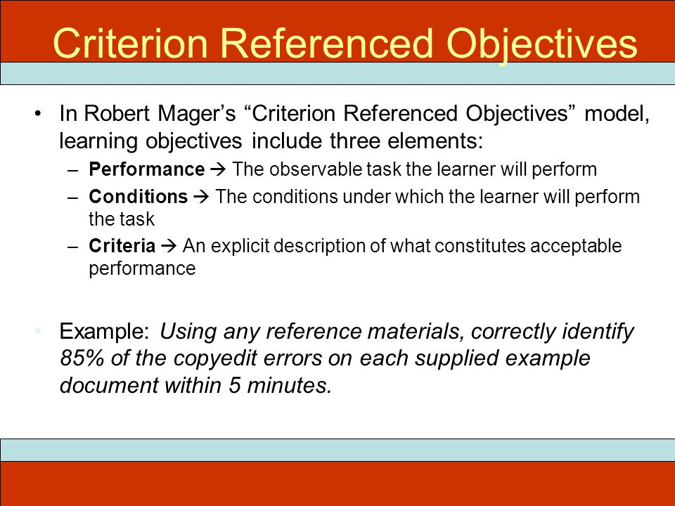 ITEC 715 Criterion Referenced Objectives In Robert Mager's Criterion Referenced Objectives model, learning objectives include three elements: –Performance  The observable task the learner will perform –Conditions  The conditions under which the learner will perform the task –Criteria  An explicit description of what constitutes acceptable performance Example: Using any reference materials, correctly identify 85% of the copyedit errors on each supplied example document within 5 minutes.