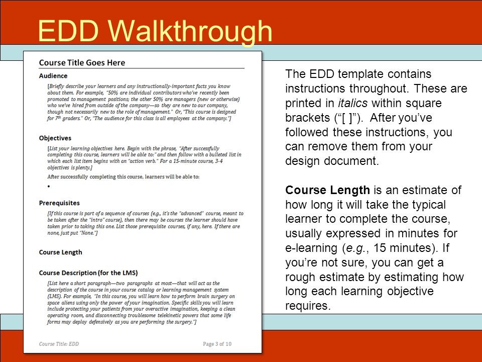 ITEC 715 EDD Walkthrough The EDD template contains instructions throughout.