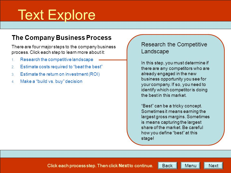 Text Explore The Company Business Process There are four major steps to the company business process. Click each step to learn more about it: 1. Resea