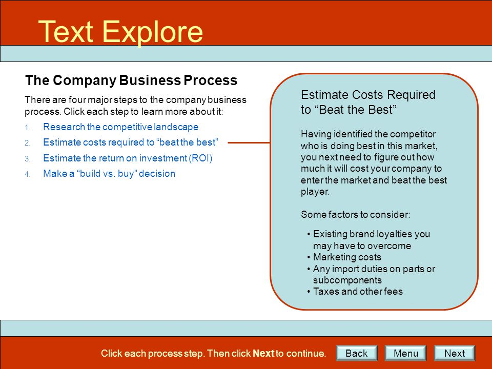 Text Explore The Company Business Process There are four major steps to the company business process.