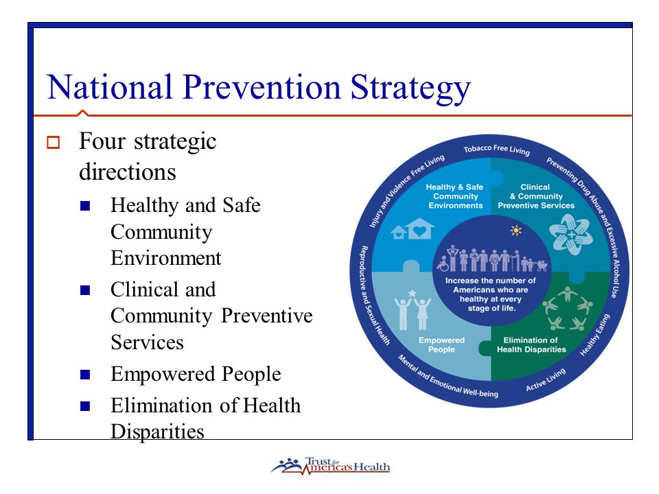 National Prevention Strategy  Four strategic directions Healthy and Safe Community Environment Clinical and Community Preventive Services Empowered People Elimination of Health Disparities