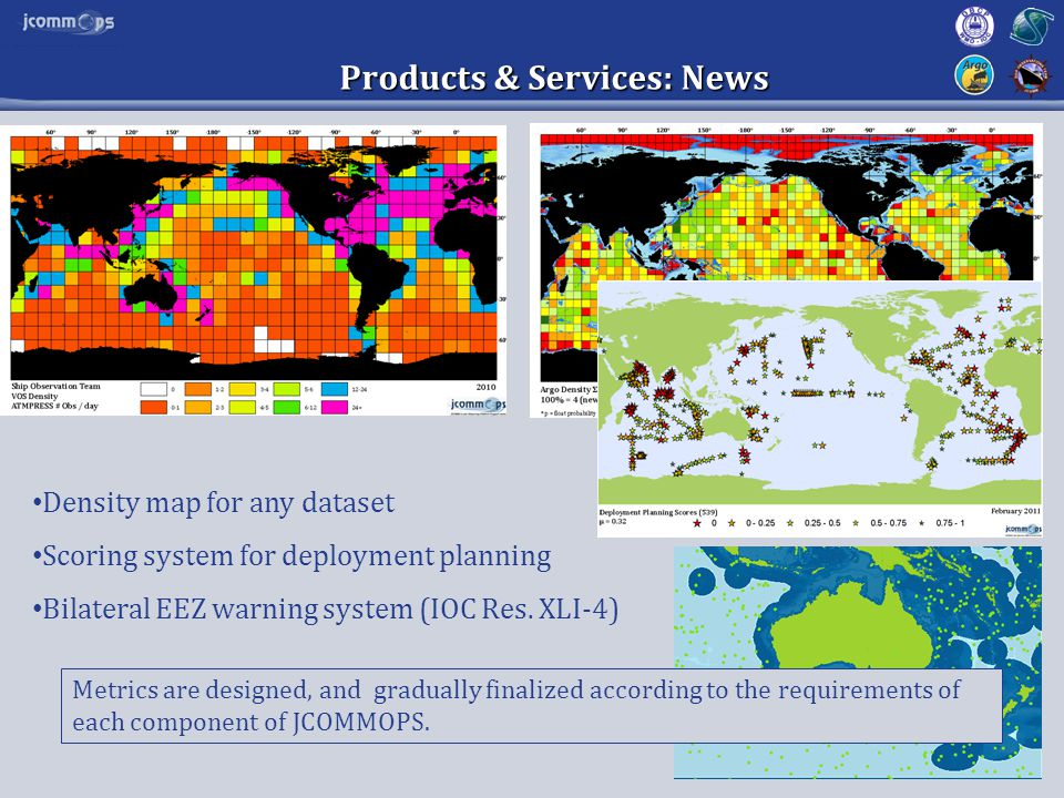 Products & Services: News Density map for any dataset Scoring system for deployment planning Bilateral EEZ warning system (IOC Res.
