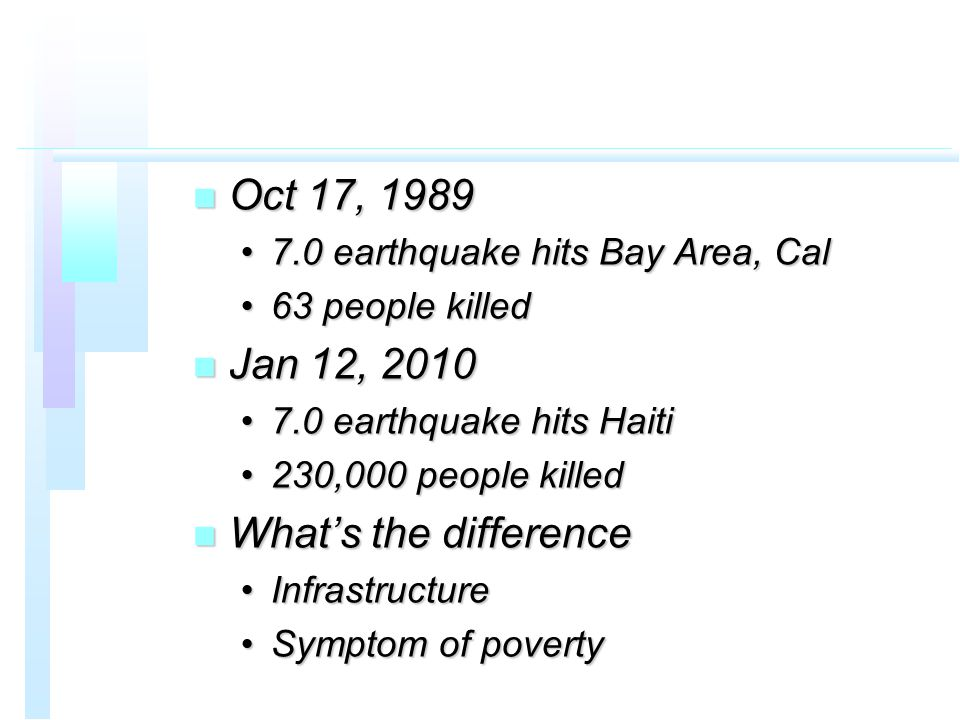n Oct 17, 1989 7.0 earthquake hits Bay Area, Cal7.0 earthquake hits Bay Area, Cal 63 people killed63 people killed n Jan 12, 2010 7.0 earthquake hits Haiti7.0 earthquake hits Haiti 230,000 people killed230,000 people killed n What's the difference InfrastructureInfrastructure Symptom of povertySymptom of poverty