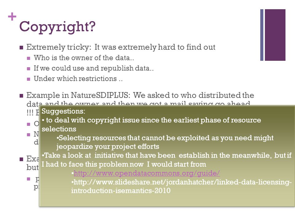 + Copyright. Extremely tricky: It was extremely hard to find out Who is the owner of the data..