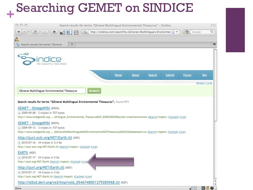 + Searching GEMET on SINDICE GEneral MultilingualThesaurus