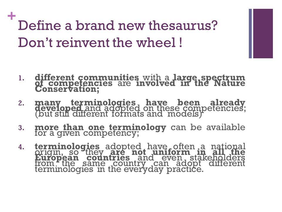 + Define a brand new thesaurus. Don't reinvent the wheel .