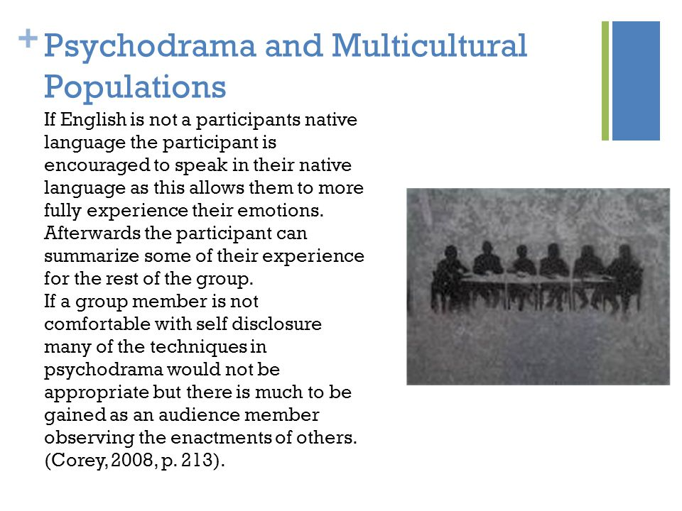 + Psychodrama and Multicultural Populations If English is not a participants native language the participant is encouraged to speak in their native language as this allows them to more fully experience their emotions.