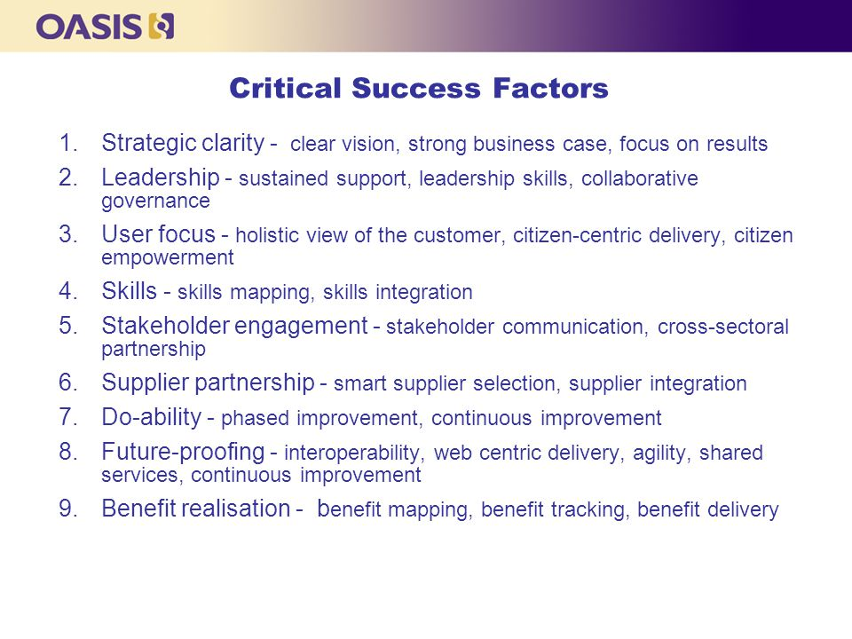 Critical Success Factors 1.Strategic clarity - clear vision, strong business case, focus on results 2.Leadership - sustained support, leadership skill