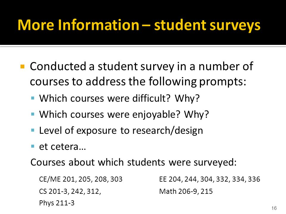  Conducted a student survey in a number of courses to address the following prompts:  Which courses were difficult.