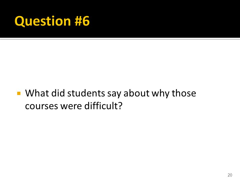  What did students say about why those courses were difficult? 20