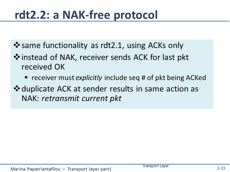 Marina Papatriantafilou – Transport layer part1 Transport Layer 3-33 rdt2.2: a NAK-free protocol  same functionality as rdt2.1, using ACKs only  instead of NAK, receiver sends ACK for last pkt received OK  receiver must explicitly include seq # of pkt being ACKed  duplicate ACK at sender results in same action as NAK: retransmit current pkt