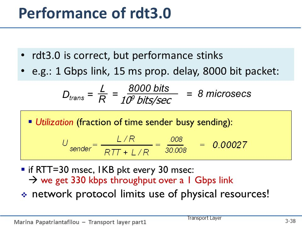 Marina Papatriantafilou – Transport layer part1 Transport Layer 3-38 Performance of rdt3.0 rdt3.0 is correct, but performance stinks e.g.: 1 Gbps link, 15 ms prop.