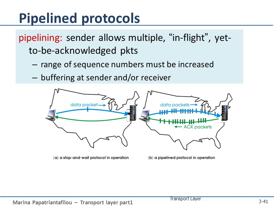 Marina Papatriantafilou – Transport layer part1 Transport Layer 3-41 Pipelined protocols pipelining: sender allows multiple, in-flight , yet- to-be-acknowledged pkts – range of sequence numbers must be increased – buffering at sender and/or receiver