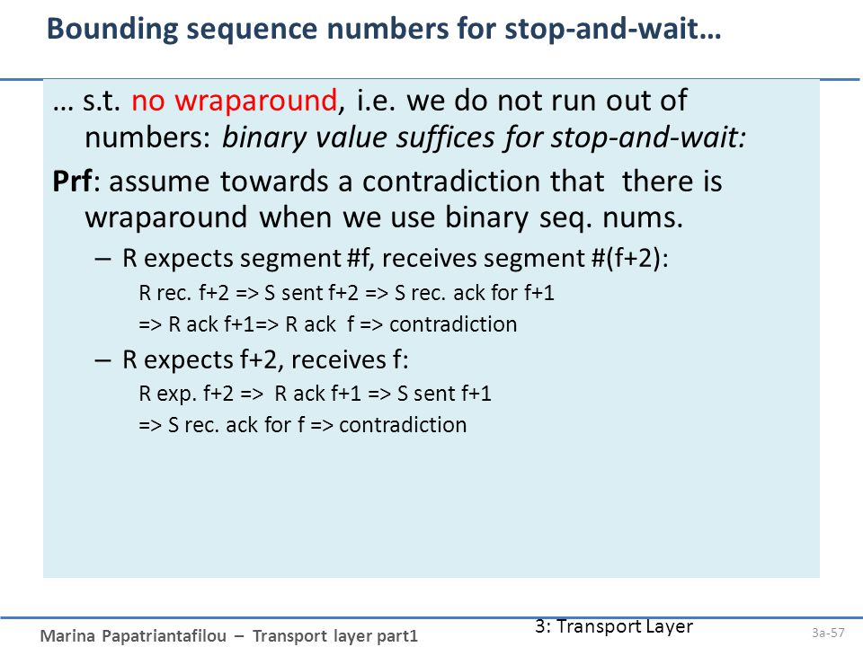 Marina Papatriantafilou – Transport layer part1 3: Transport Layer 3a-57 Bounding sequence numbers for stop-and-wait… … s.t.
