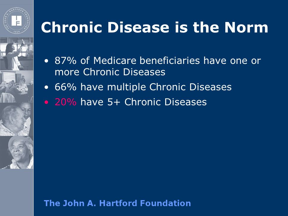 The John A. Hartford Foundation Chronic Disease is the Norm 87% of Medicare beneficiaries have one or more Chronic Diseases 66% have multiple Chronic