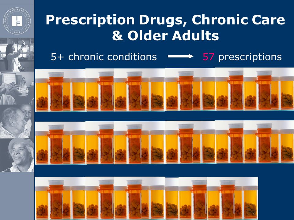 The John A. Hartford Foundation 5+ chronic conditions 57 prescriptions Prescription Drugs, Chronic Care & Older Adults