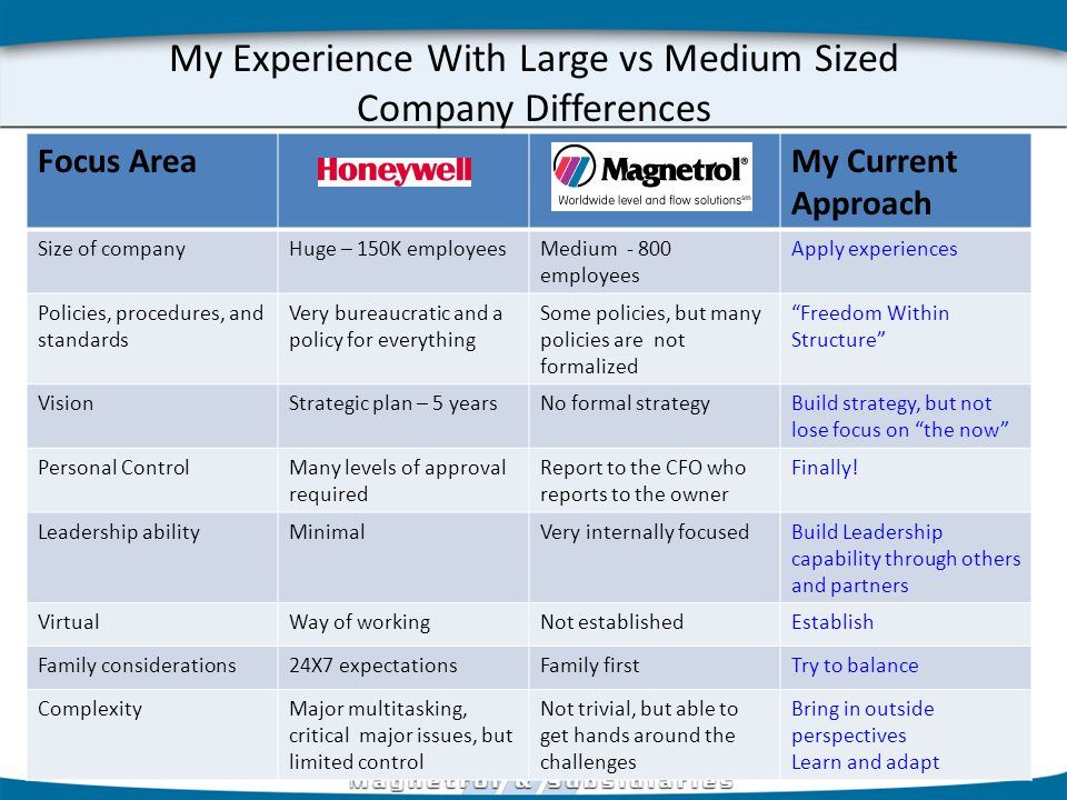 My Experience With Large vs Medium Sized Company Differences Focus AreaMy Current Approach Size of companyHuge – 150K employeesMedium - 800 employees Apply experiences Policies, procedures, and standards Very bureaucratic and a policy for everything Some policies, but many policies are not formalized Freedom Within Structure VisionStrategic plan – 5 yearsNo formal strategyBuild strategy, but not lose focus on the now Personal ControlMany levels of approval required Report to the CFO who reports to the owner Finally.