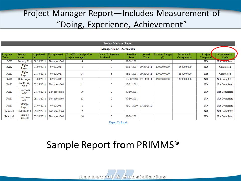 Project Manager Report—Includes Measurement of Doing, Experience, Achievement Sample Report from PRIMMS®