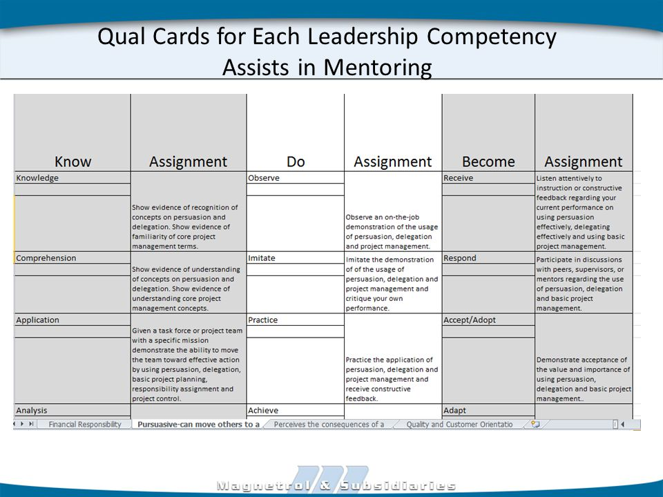 Qual Cards for Each Leadership Competency Assists in Mentoring