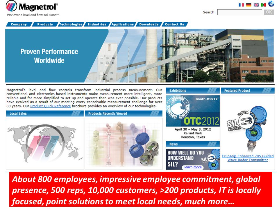 About 800 employees, impressive employee commitment, global presence, 500 reps, 10,000 customers, >200 products, IT is locally focused, point solution