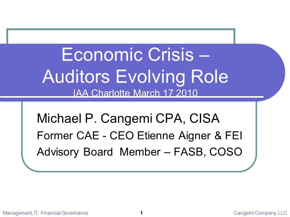 Economic Crisis – Auditors Evolving Role IAA Charlotte March 17 2010 Michael P.