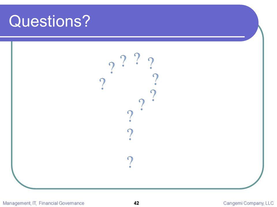 Questions? Management, IT, Financial Governance 42 Cangemi Company, LLC