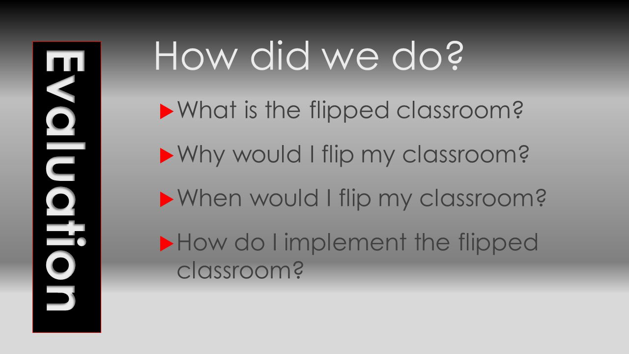 How did we do?  What is the flipped classroom?  Why would I flip my classroom?  When would I flip my classroom?  How do I implement the flipped cl