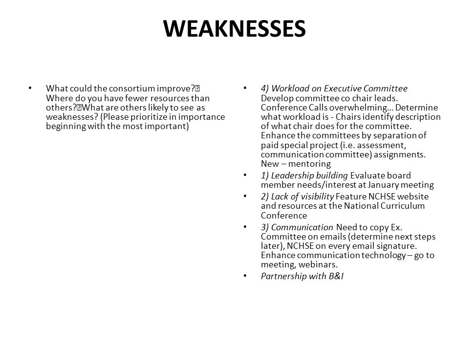 WEAKNESSES What could the consortium improve? Where do you have fewer resources than others? What are others likely to see as weaknesses? (Please prio
