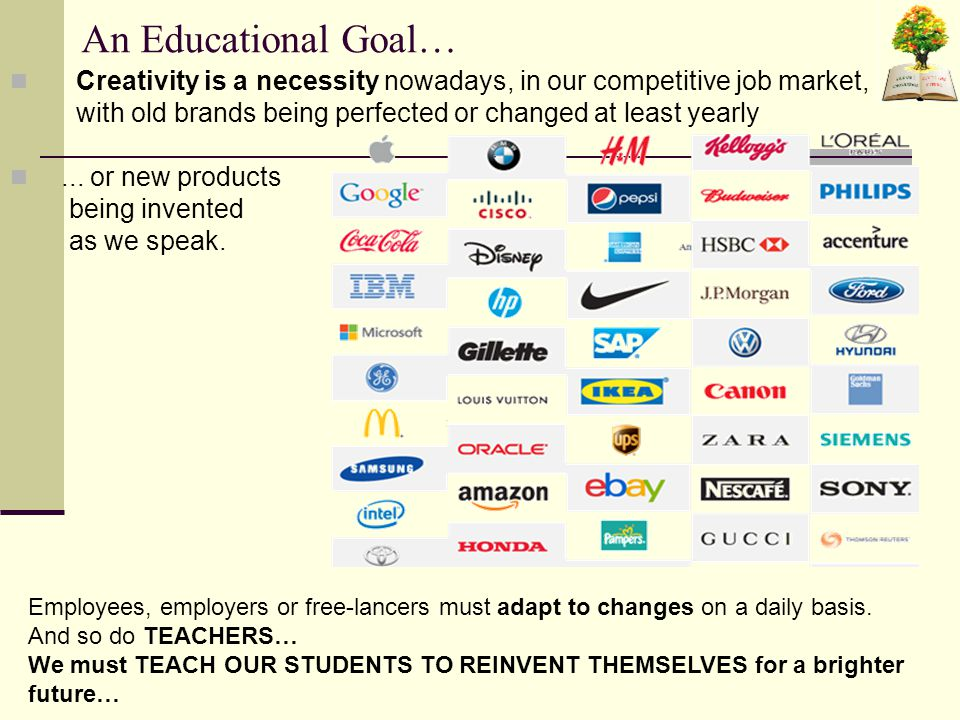 An Educational Goal… Creativity is a necessity nowadays, in our competitive job market, with old brands being perfected or changed at least yearly...