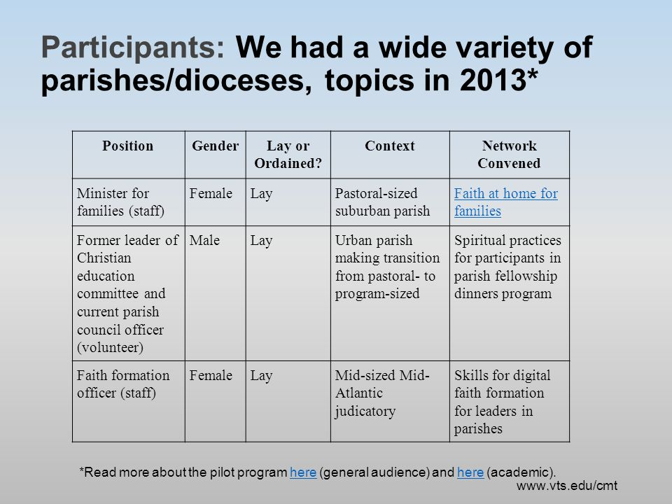 Participants: We had a wide variety of parishes/dioceses, topics in 2013* PositionGenderLay or Ordained.