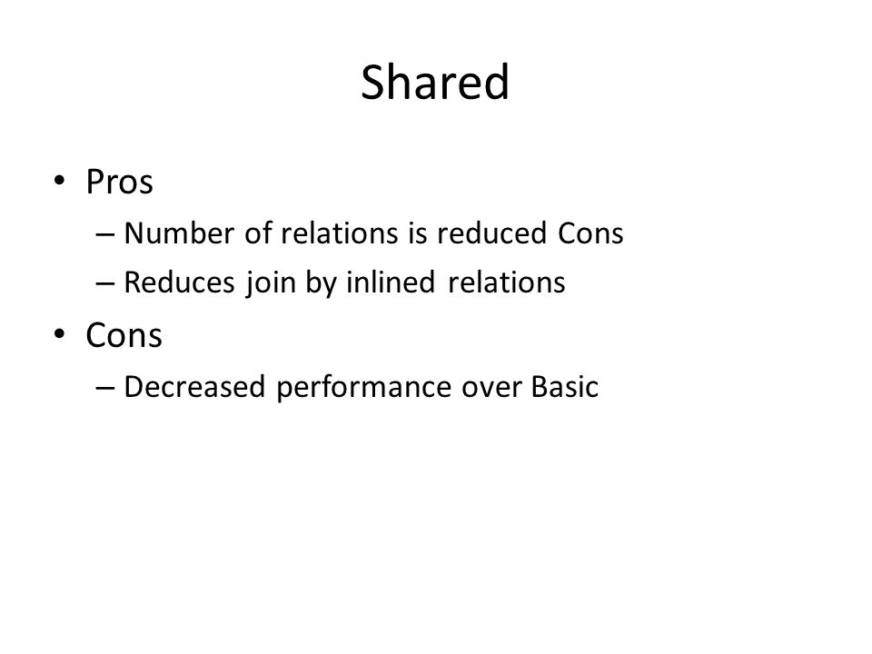 Shared Pros – Number of relations is reduced Cons – Reduces join by inlined relations Cons – Decreased performance over Basic
