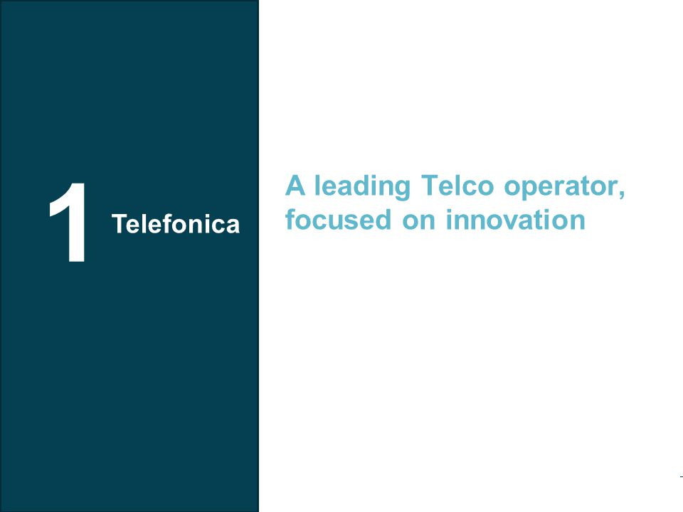 Telefonica I+D Telefónica investing 4.814 Mill€ in Tech Innovation (2010)  797 Mill in R&D  94 Mill in Telefónica I+D (2011)  Innovating in 25 countries Telefónica activities on Innovation Among the 40 biggest companies in Europe in R&D investment Telefónica I+D has a staff of scientists, technologists and designers, from 18 nationalities.