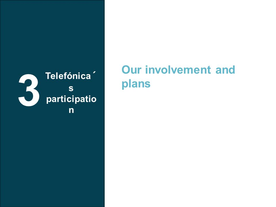 Telefonica I+D 3 Telefónica´ s participatio n Our involvement and plans