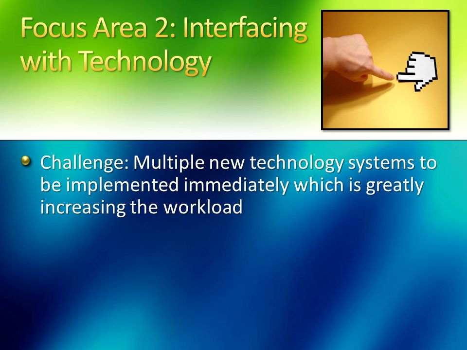 Challenge: Multiple new technology systems to be implemented immediately which is greatly increasing the workload