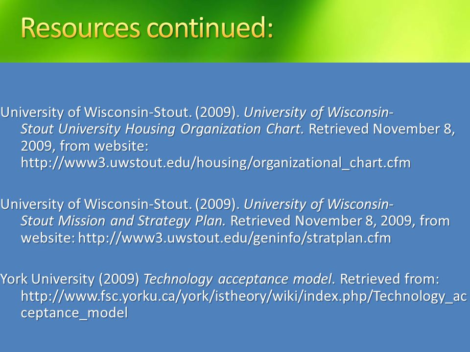 University of Wisconsin-Stout. (2009).