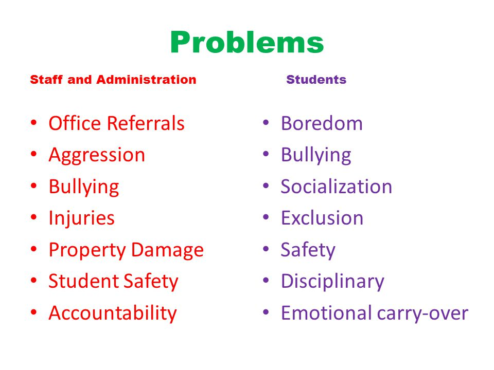 Problems Office Referrals Aggression Bullying Injuries Property Damage Student Safety Accountability Boredom Bullying Socialization Exclusion Safety Disciplinary Emotional carry-over Staff and Administration Students