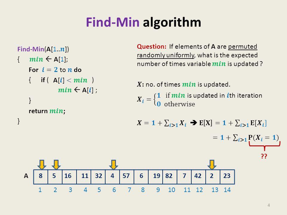 Find-Min algorithm 4 8 5 16 11 32 4 57 6 19 82 7 42 2 23 1 2 3 4 5 6 7 8 9 10 11 12 13 14 A ??