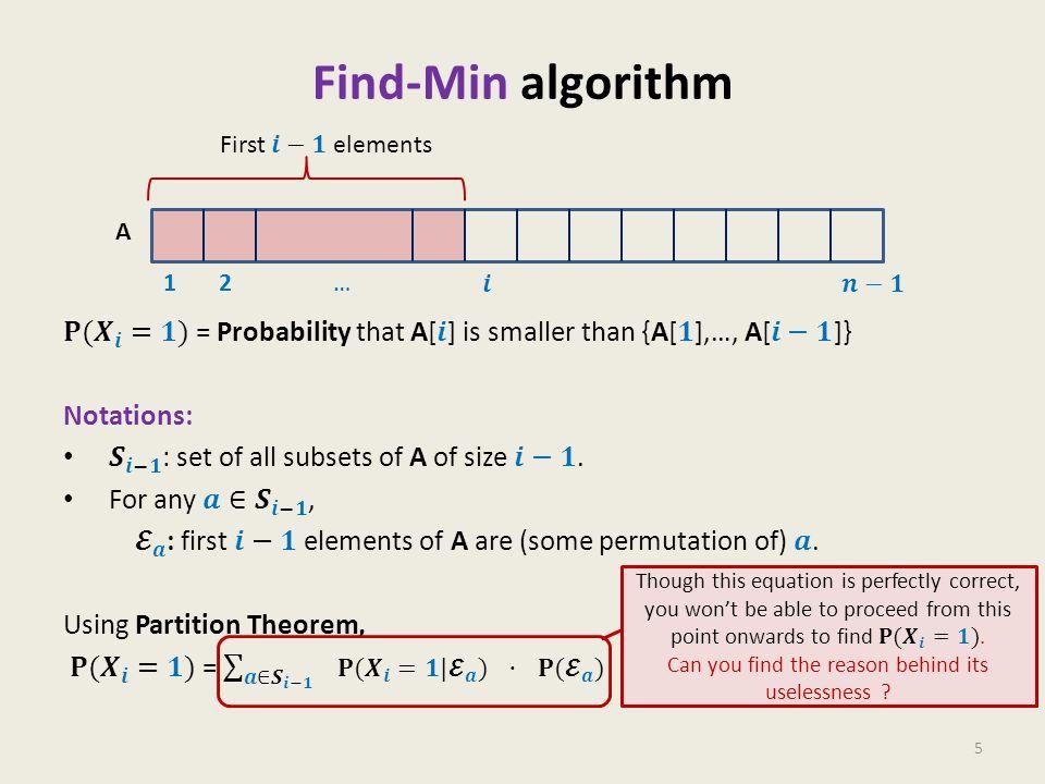 Find-Min algorithm 5 1 2 … A