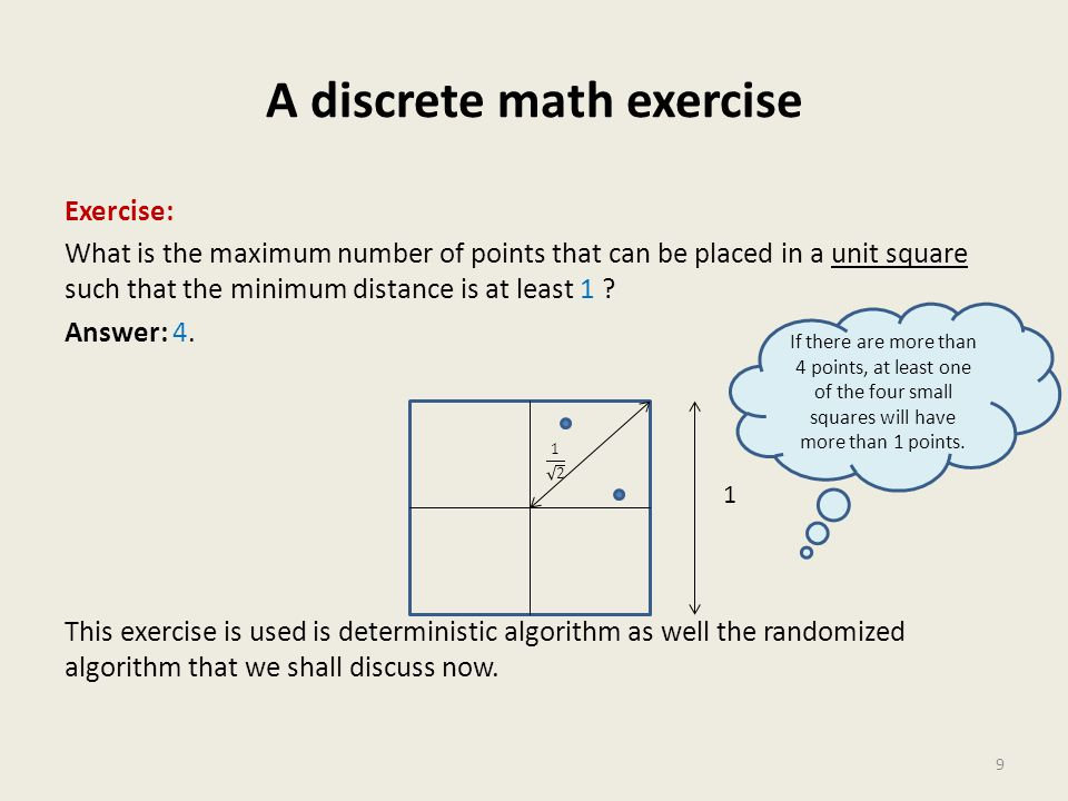 A discrete math exercise Exercise: What is the maximum number of points that can be placed in a unit square such that the minimum distance is at least 1 .