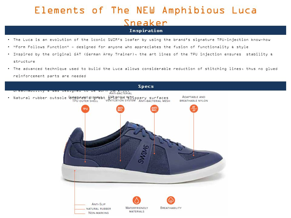 Elements of The NEW Amphibious Luca Sneaker The Luca is an evolution of the iconic SWIM s loafer by using the brand s signature TPU-injection know-how Form Follows Function - designed for anyone who appreciates the fusion of functionality & style Inspired by the original GAT (German Army Trainer), the art lines of the TPU injection ensures stability & structure The advanced technique used to build the Luca allows considerable reduction of stitching lines, thus no glued reinforcement parts are needed By combining lightweight mesh & an anti-bacterial, perforated EVA insole the sneaker provides maximum breathability & was designed to be worn barefoot Natural rubber outsole ensures a great grip on slippery surfaces Inspiration Specs
