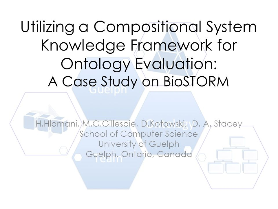 Utilizing a Compositional System Knowledge Framework for Ontology Evaluation: A Case Study on BioSTORM H.Hlomani, M.G.Gillespie, D.Kotowski, D. A. Sta