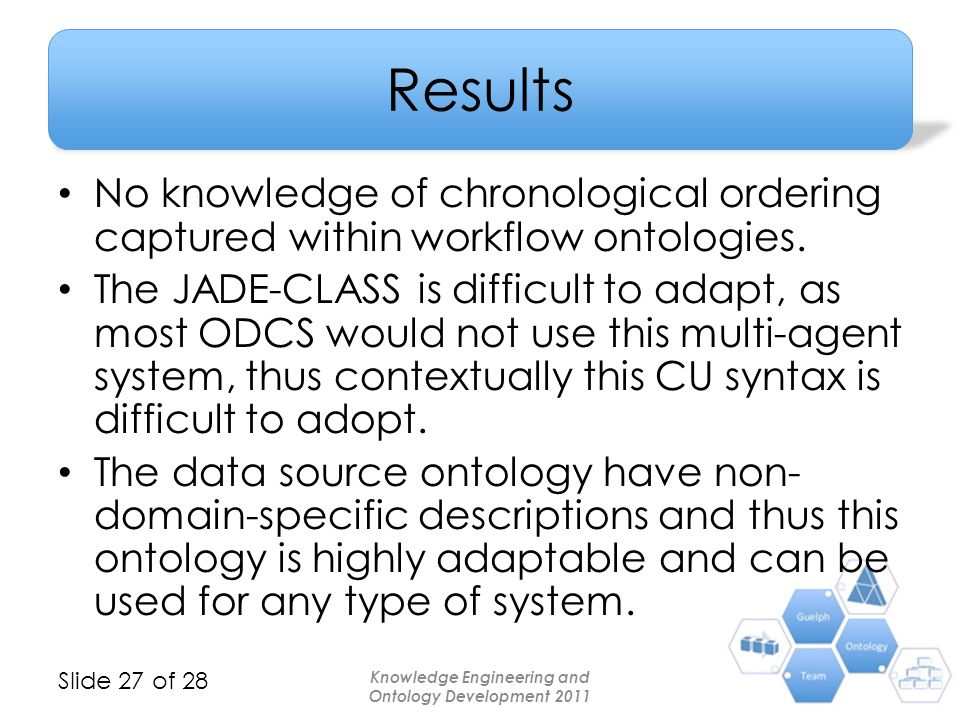 Slide 27 of 28 Results No knowledge of chronological ordering captured within workflow ontologies. The JADE-CLASS is difficult to adapt, as most ODCS