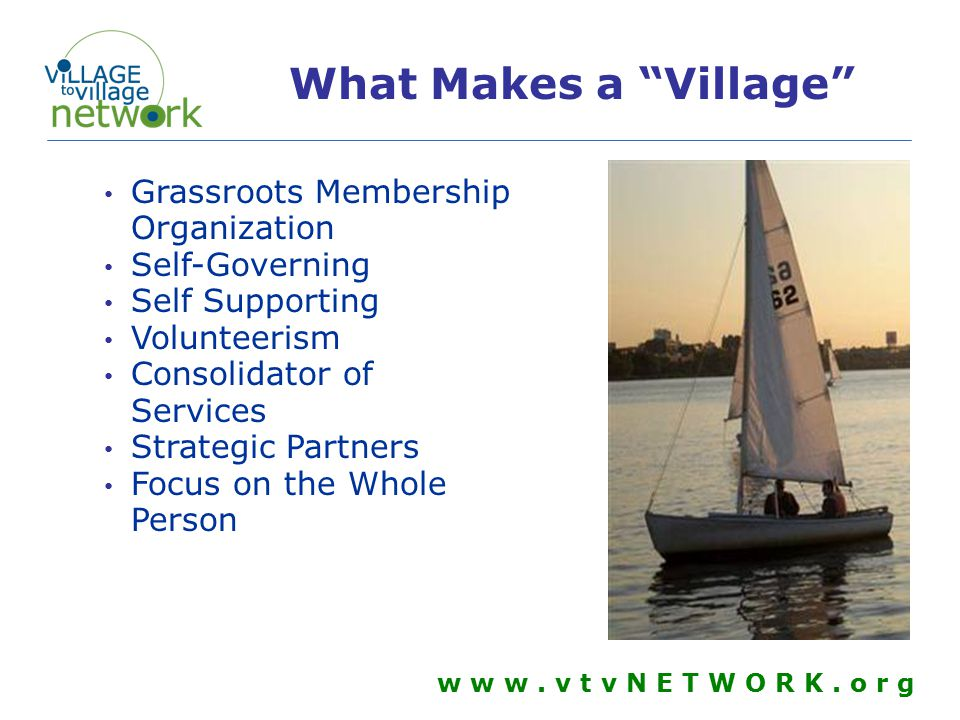 All Villages will have pieces of all of these elements Concierge Assistance of Living Community Building w w w.