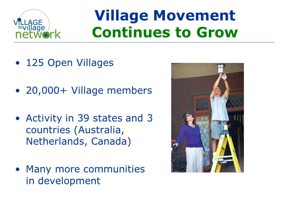 An Organization by Villages - for Villages National peer to peer network o Joint 50/50 partnership – Capital Impact Partners and Beacon Hill Village Mission o To enable communities to establish and effectively manage aging in community organizations initiated and inspired by their members.