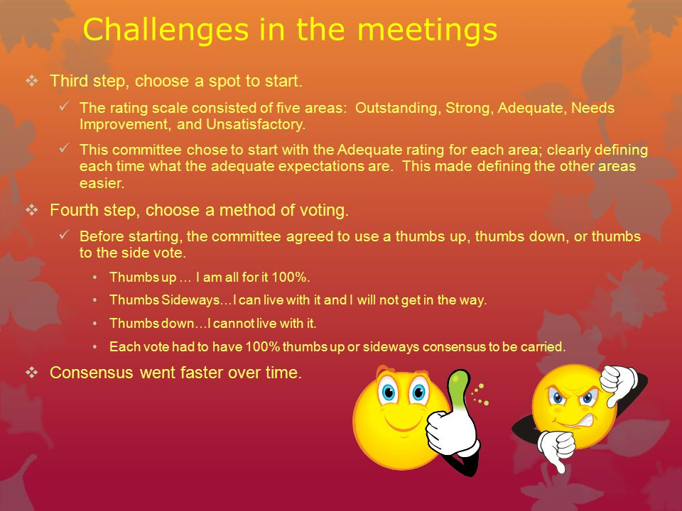 Challenges in the meetings  Third step, choose a spot to start.