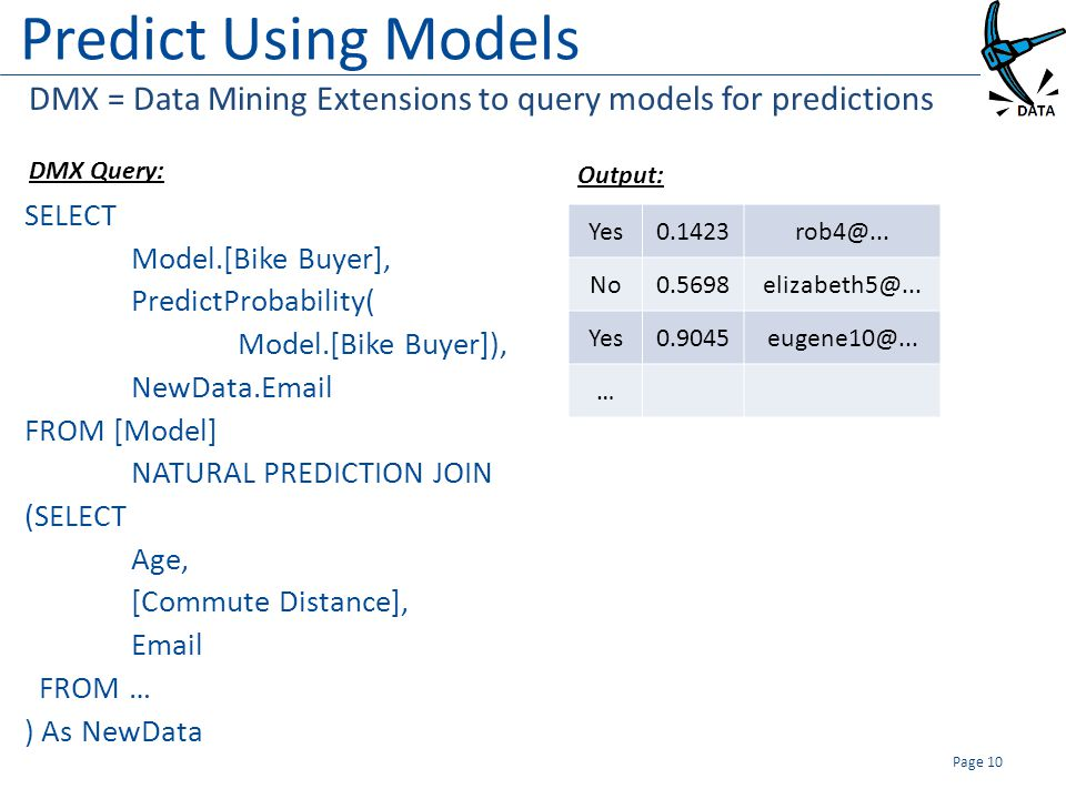 Predict Using Models SELECT Model.[Bike Buyer], PredictProbability( Model.[Bike Buyer]), NewData.Email FROM [Model] NATURAL PREDICTION JOIN (SELECT Age, [Commute Distance], Email FROM … ) As NewData Page 10 DMX = Data Mining Extensions to query models for predictions Yes0.1423rob4@...